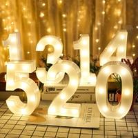Lámpara de noche con pilas AA, luz luminosa creativa de 0 a 9 Número Digital para decoración de fiestas de cumpleaños, bodas y Navidad