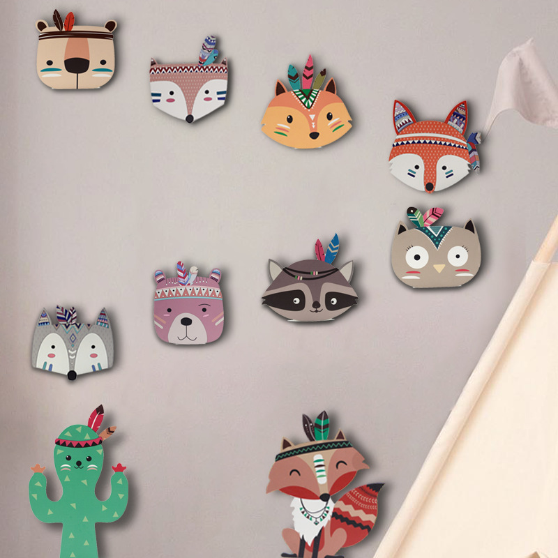 Ins Nordic Style Kids Decoration Wooden Decor Animal Foxy Head Wall Decoration Children's Room Decora Wall Hanging JJJTZ122