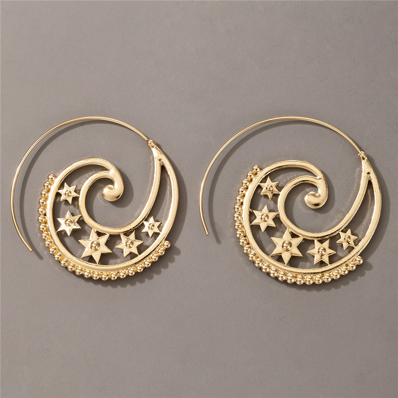 Hollow Out Star Spiral Drop Earrings For Women Gold Color Circle Piercing Dangle Earrings Trendy Jewelry