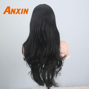 Image 5 - Anxin ארוך שחור פאות לנשים שחורות גל שערות עם פוני סינטטי טבעי צבע שחור בלונד צהוב קוספליי מפלגת פאה