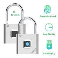 Impressão em miniatura cadeado da porta fechadura da porta recarregável impressão digital inteligente cadeado desbloqueio rápido keyless usb Trava elétrica     -
