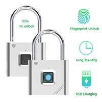 Thumbprint Tür Vorhängeschlösser Wiederaufladbare Türschloss Fingerprint Smart Vorhängeschloss Schnell Entsperren Keyless USB