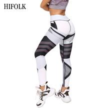 HIFOLK Stylish Fitness Leggings Black White Stitching Printing Legins High Elastic Legging Push Up Breathable Sporting Leggins