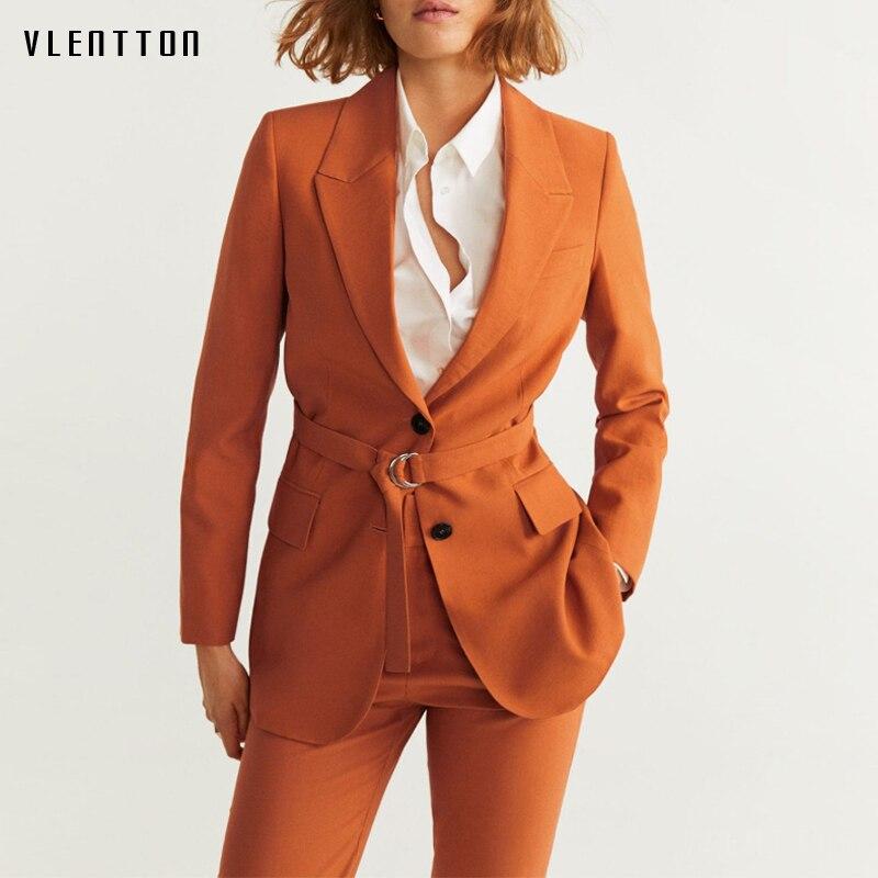2020 Autumn Work Two Piece Set Women Chic Sashes Single Breasted Blazer Jacket & Zipper Trouser Office Lady Pants Suit Feminino