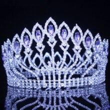 كريستال الملكة الزفاف تاج تيارا الزفاف مهرجان الشعر الحلي الباروك الإكليل خوذة المرأة العروس رئيس مجوهرات اكسسوارات