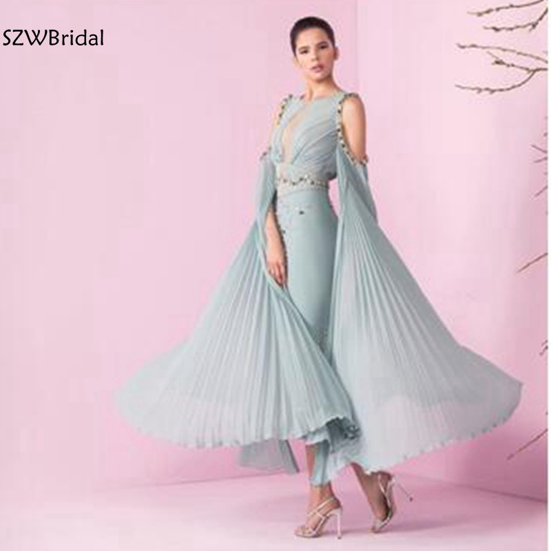 New Arrival Chiffon Ankle Length Kaftan Dubai Arabic Evening Dress 2020 Robe De Soiree Formal Dress Party Evening Gown