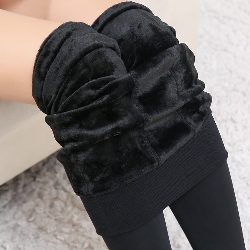 Autumn And Winter 200g Pearl Velvet Leggings Plus Plush Thickened High Waist Seamless One-piece Pants High Elastic Warm Pants