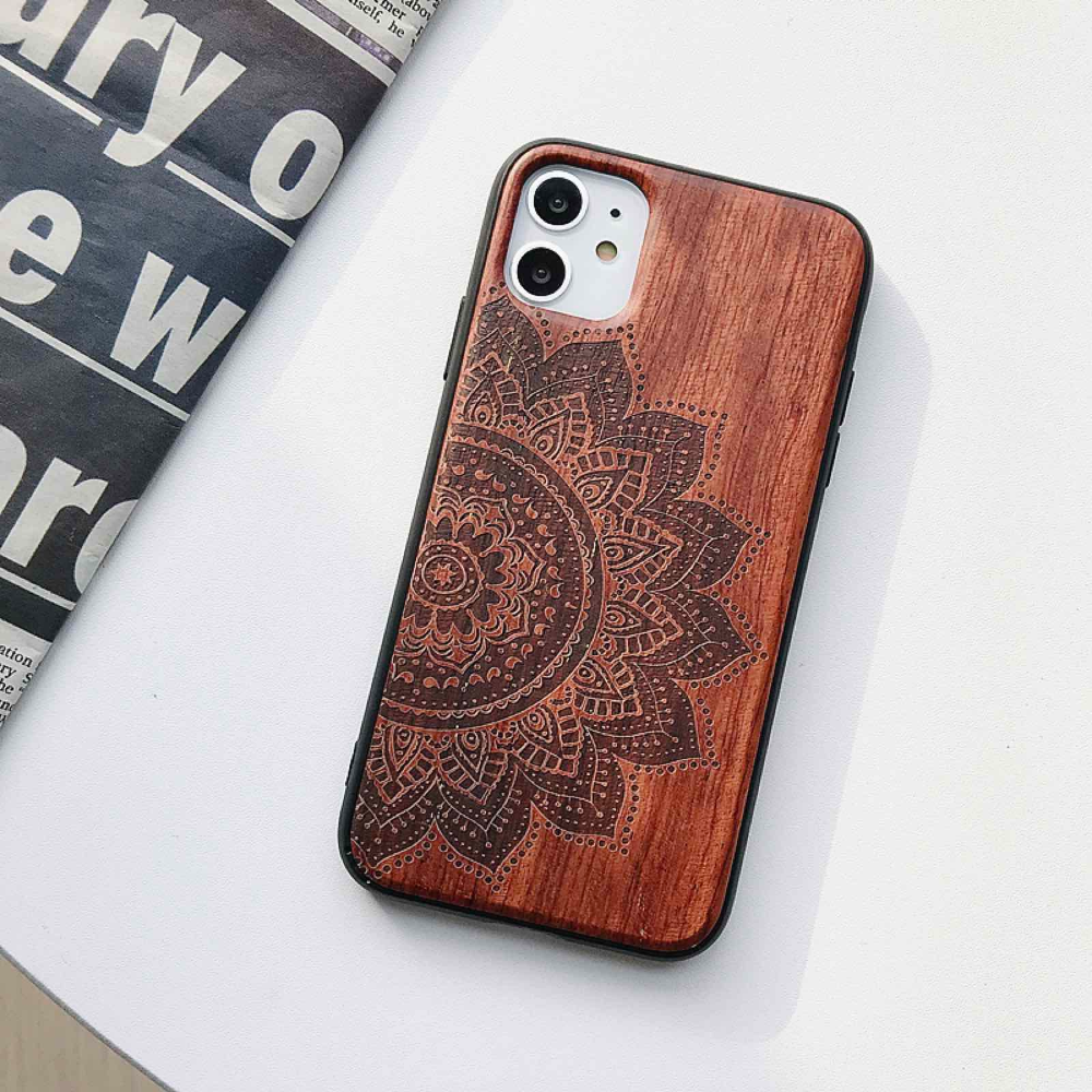 Natural Laser Carving Wooden Phone Case For iPhone 12 Pro