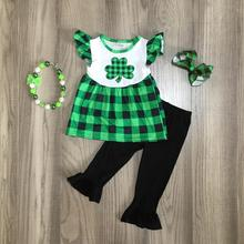 baby St. Patricks Day green black plaid shamrock outfit girls Spring cotton sequins short top pants clothes match accessories