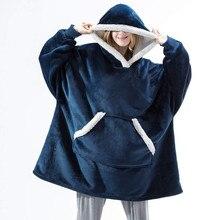 Blanket Hoodies Plaid Fleec with Sleeve Giant Zip-Coat Female Sweatshirt Oversized Winter