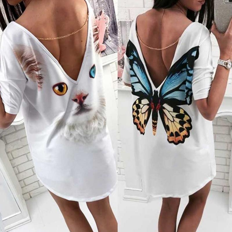 Trendy Sexy Women Deep V Backless Tops Casual Short Sleeves Ladies Fashion Cartoon Cat Butterfly Print T-Shirt Tops#730