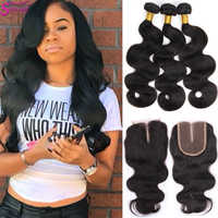 Soul Lady Body Wave Bundles With Closure Peruvian Hair Bundles With Closure 100% Human Hair Bundles With Closure Hair Extensions