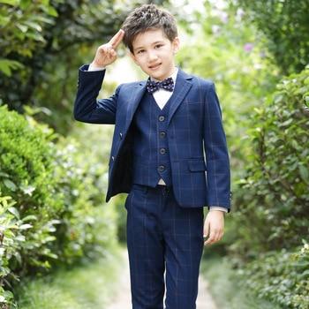 T020 New Fashion 100-170CM Small children Suit Coat Boy Autumn Leisure suit Blazer+Pant+T-shirt+Bow Tie 4pcs Blazer Set