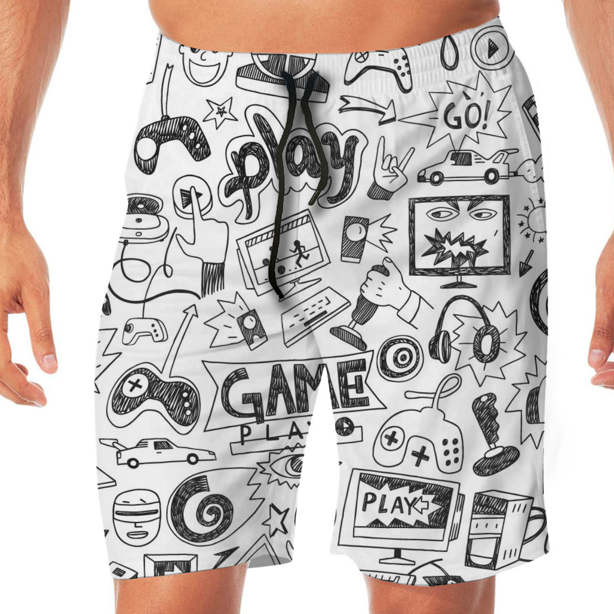 Summer Doodle Style Computer Games Print Men Novelty Gay Funny Lounge Pants Beachwear
