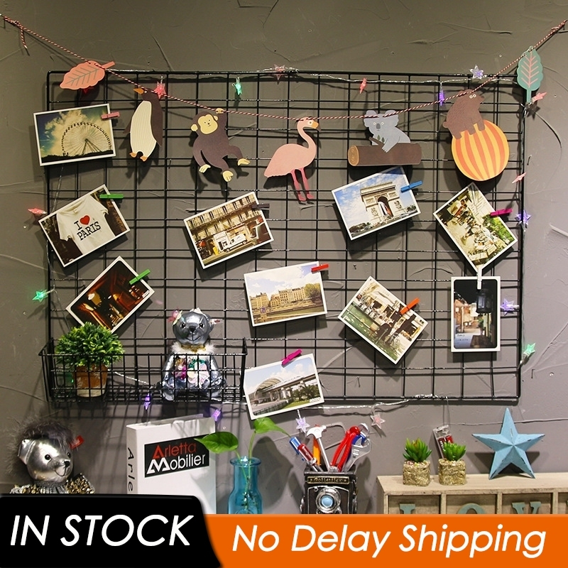Metal Mesh Grid Wall Hanging Photo Frame Multi-Function Panel Postcards Mesh Frame Wall Art Display Storage Rack DIY Decoration