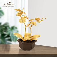 Gold Foil Butterfly Orchid Tree Bonsai Living Room Decoration Modern Home decor TV Wine Cabinet Ornament office Furnishing Craft