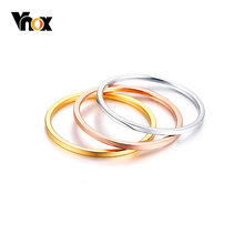 Vnox Stylish Women Ring Finger Jewelry 3 Pcs/Set Rose Gold /Sliver /Gold Color Alliance US Size 6/7/8(China)