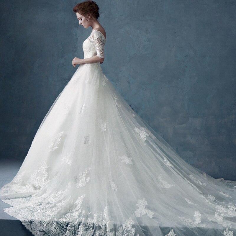 Boat Neck Half Sleeve Appliques Luxury Lace New Vestido De Noiva Bride A-line Cap Sleeve Louisvuigon Mother Of The Bride Dresses