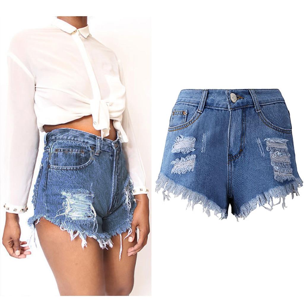 Fashion Womens Pocket Hole Jeans Denim Female High Waist Slim Sexy Shorts Shredded Tassel Pocket High-rise Denim Shorts
