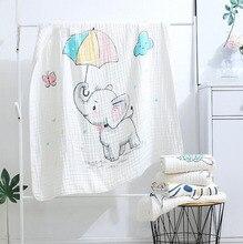 بطانية الأطفال 110x110 سم من القطن الموسلين 6 طبقات سميكة حديثي الولادة التقميط الخريف الطفل قماط الفراش الفيلة تلقي بطانية
