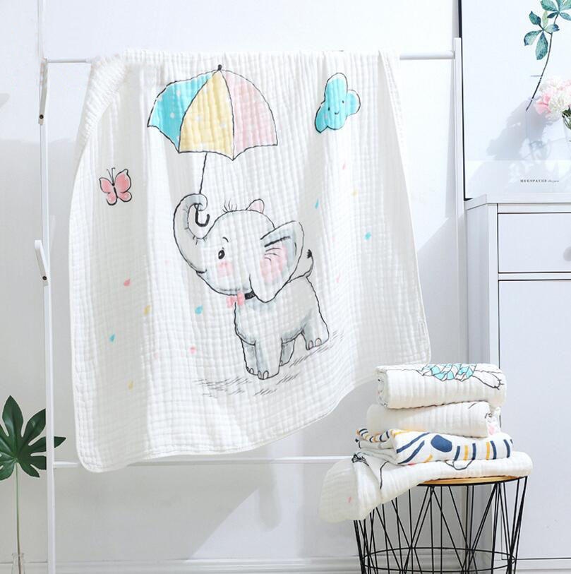Baby Blanket 110x110 CM Muslin Cotton 6 Layers Thick Newborn Swaddling Autumn Baby Swaddle Bedding Elephants Receiving Blanket
