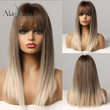ALAN EATON Long Straight Hair Ombre Black Brown Gray Ash Lolita Bob Synthetic Wig with Bangs for Women Cosplay Heat Resistant