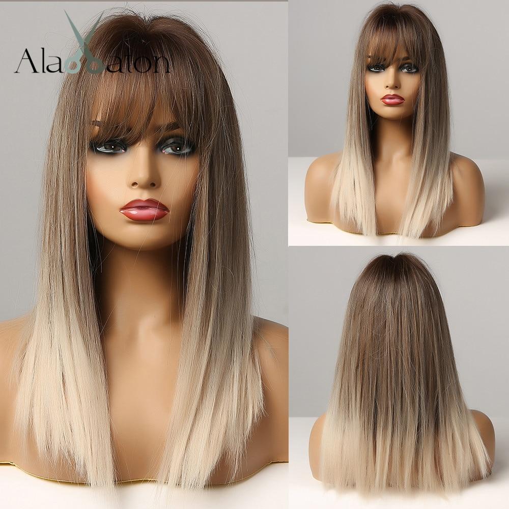 ALAN EATON długie proste włosy Ombre czarny brązowy szary Ash Lolita Bob syntetyczna peruka z grzywką dla kobiet Cosplay żaroodporne