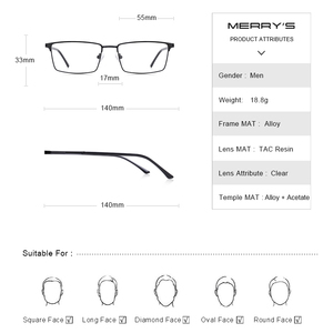 Image 4 - MERRYS עיצוב גברים יוקרה טיטניום סגסוגת אופטיקה משקפיים זכר Ultralight עין קוצר ראייה רוחק מרשם משקפיים S2063
