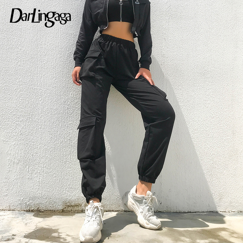 Darlingaga Street Style Cargo   Pants   Women Sweatpants Hippie Side Pockets Trousers Casual Letter Baggy   Pants   Joggers   Capri   Bottom