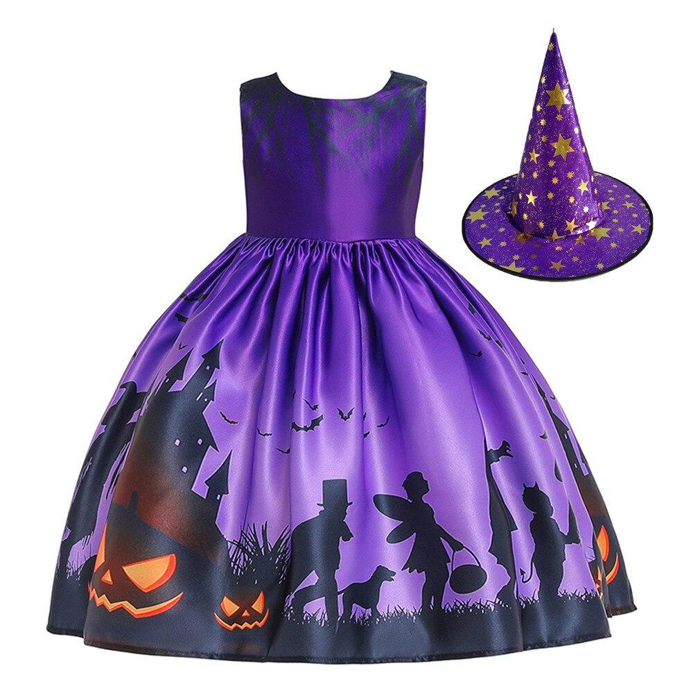 Halloween Carnival Purim Uniform Girl Kids Pumpkin Lamp Ghost Ghost Demon Dress / Hat Suit Cosplay Party Witch Princess Costume
