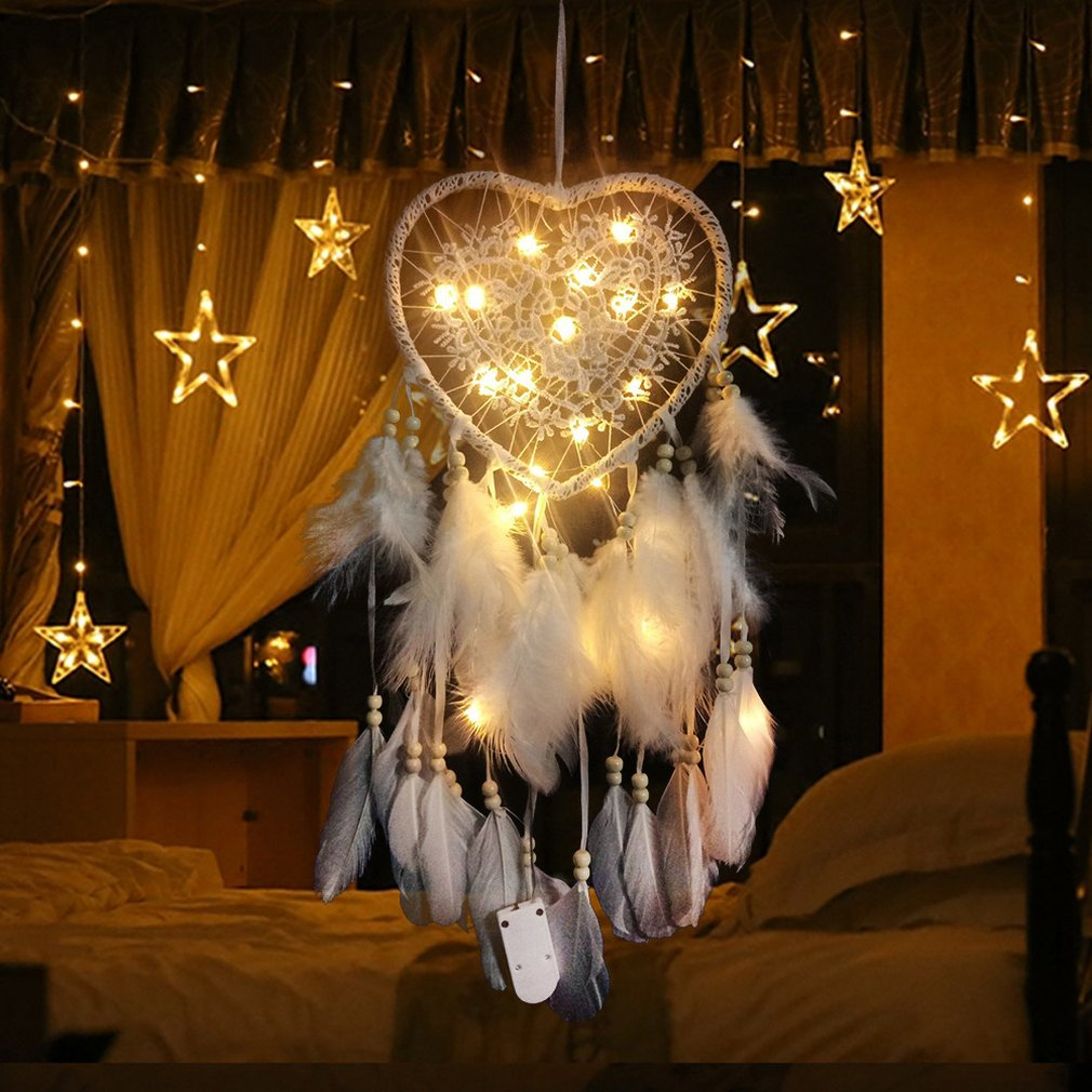 Hot Sale Dream Catcher LED Heart Shape Dreamcatcher Feathers Night Light White/pink Dream Catchers Wall Hanging Home Room Decor