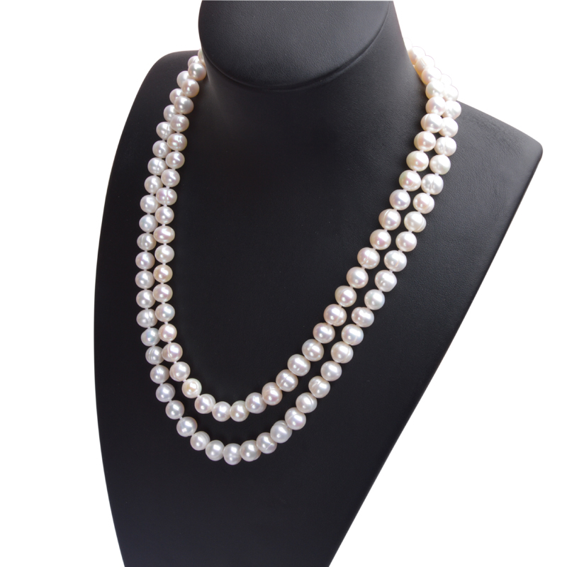 H75fa38438ede4ea7b92c3ace4ba5f13bH ASHIQI Real Natural Freshwater Pearl choker Necklace 8-9mm White Near Round Pearl Jewelry Gifts for Women