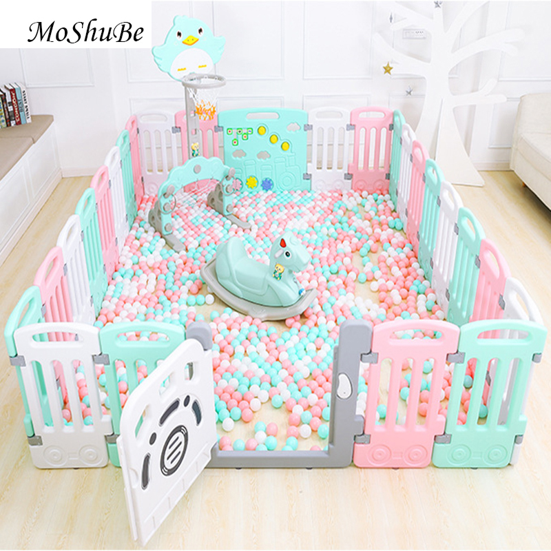 Indoor Baby Playpen Plastic Children's Play Fence Todder Kids Safety Barrier Ball Pool Home Infant Crawling Fence Yard