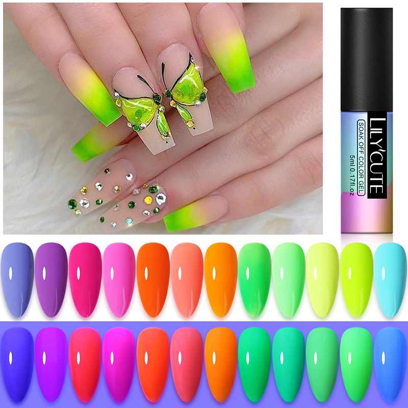 LILYCUTE 5ml Nail Gel Glow In Dark Fluorescent Colorful Neon Gel Nail Polish UV LED Semi Permanent Soak Off Gel Varnish 12 Color