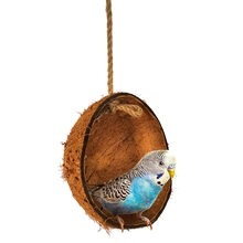 Pet Cage Swing Toy For Birds Natural Coconut Shell Bird House Hideout Hanging Bed Parrot