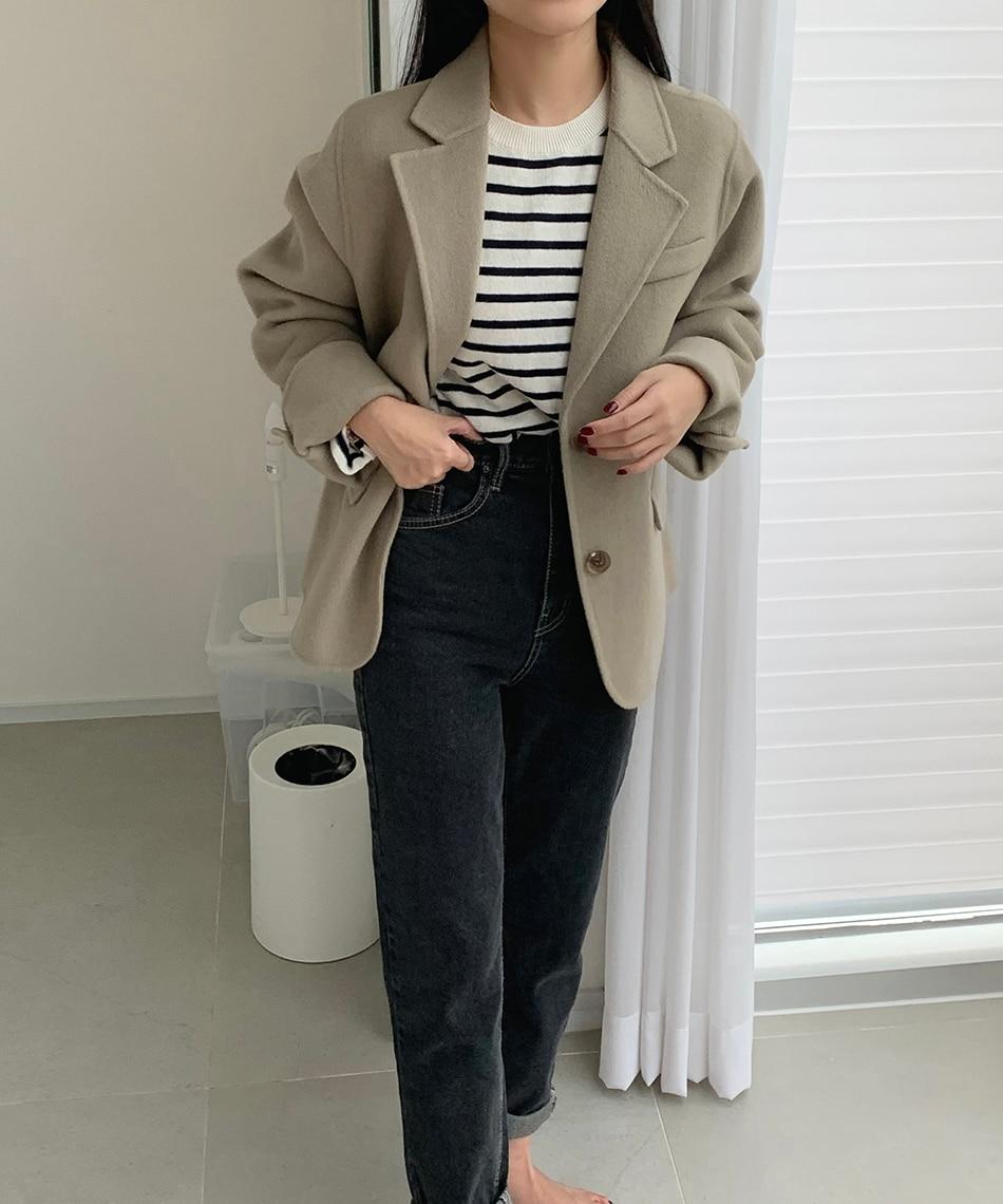 H75fa77802bec4f5fbc833f5f70286172r - Winter Korean Revers Collar Solid Woolen Short Coat