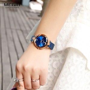 Image 3 - MEGIR Relógio de Luxo Mulheres Marca de Topo Vestido À Prova D Água Relogio feminino Malha Azul Milan Pulseira Moda Relógios de Quartzo Senhora 4211