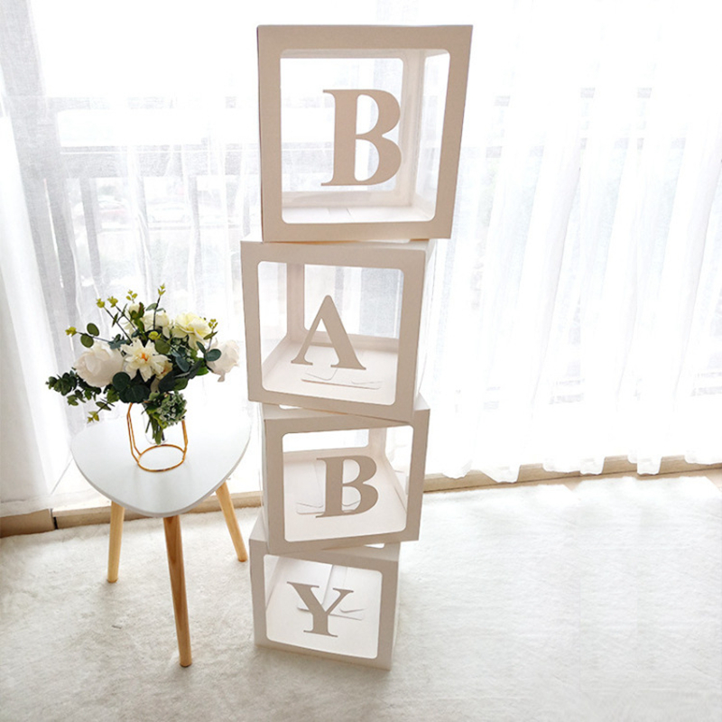 Caixa de balões transparente nome idade caixa decorações do chuveiro do bebê 1st um aniversário festa decoração presente babyshower suprimentos