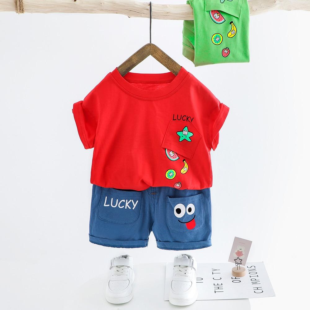 Boy Short Sleeve T-Shirt and Shorts Kid 2 Pcs Summer Outfit Clothing Set