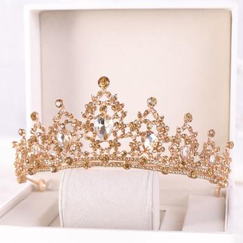 FORSEVEN złoty niebieski kryształ Rhinestone kobiety dziewczyna Diadem i korona Diadem panny młodej chluba akcesoria ślubne biżuteria do włosów ślubna tanie i dobre opinie CN (pochodzenie) Ze stopu cynku Moda Tiaras Klasyczny Hairwear 38423 ROUND