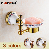 Gold Ceramic Soap Dish Holder Luxury Europe Soap Holder Antique Brass Ceramic Plate Bathroom Accessories Products XL 3305