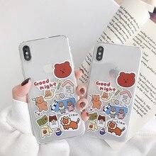 Korean fashion bear lion Cute Phone case for iPhone 11 Pro X XS Max XR silicone cover coque 7 8 Plus 7Plus Case