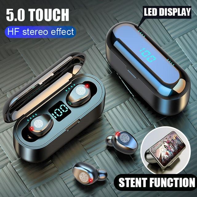 Auricolari Wireless F9 Bluetooth V5.0 TWS auricolare Stereo Auto coppia Sport auricolare potenza auricolare per IOS Android