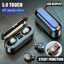 F9 무선 이어 버드 블루투스 V5.0 TWS 이어폰 스테레오 자동 쌍 스포츠 이어폰 헤드셋 전원 IOS 안드로이드