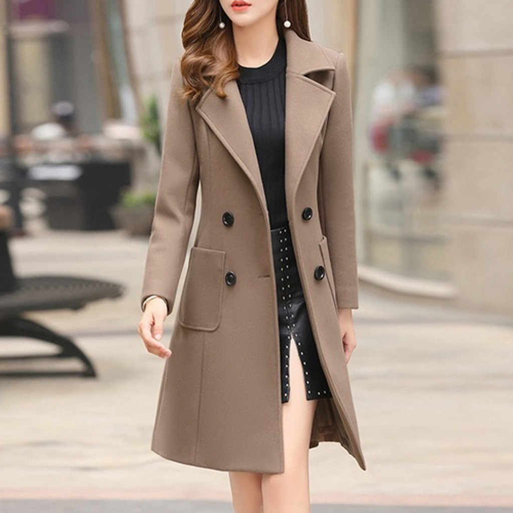 Mantel Musim Dingin Wanita Wanita Musim Dingin Kerah Tombol Panjang Trench Coat Jaket Wanita Mantel Lebih Tahan Dr Wol Mantel Wanita Moda Feminina