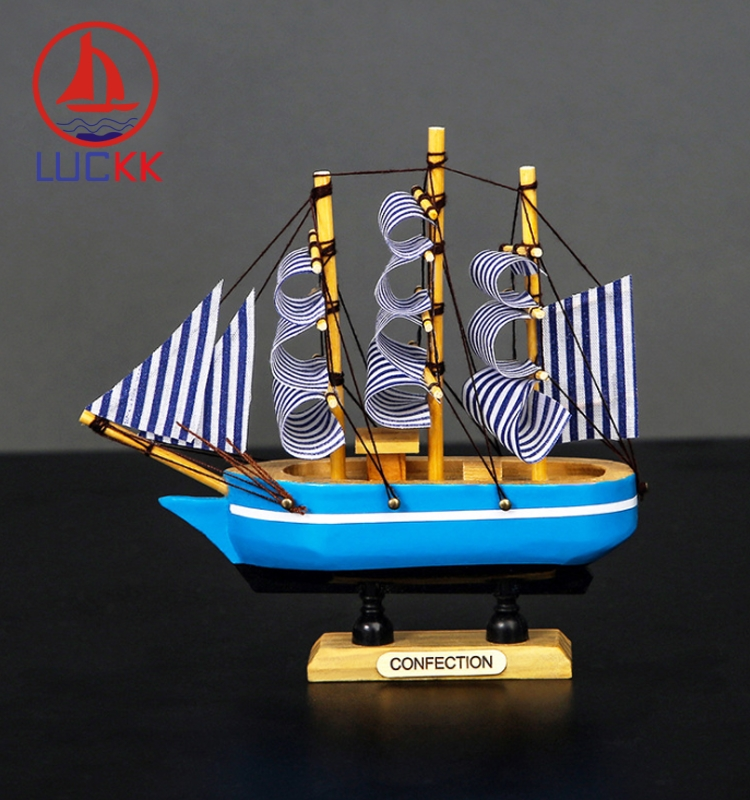 LUCKK 16CM Mediterranean Handmade Wooden Sailboat Model Home Decor Marine Accessories Arts Craft European Ornaments Manual Gifts