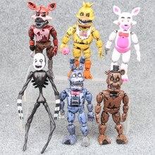 6 pçs/lote FNAF Armadilha de Molas Das Cinco Noites No Freddy Pesadelo Foxy Chica Bonnie Freddy Fazbear Urso Action Figure modelo brinquedos