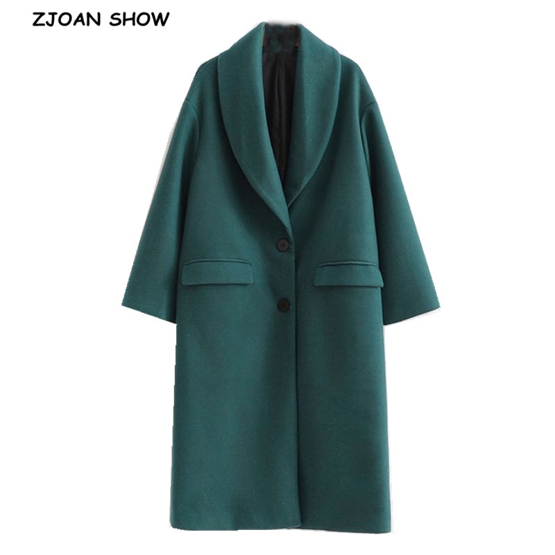 2020 hiver vert laine mélanges manteau deux boutons col cranté manches longues genou longueur OL Trench vêtements dextérieur