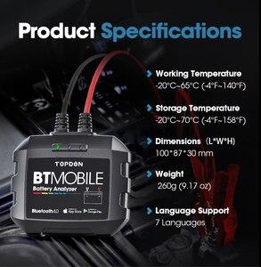 Image 5 - TOPDON جهاز اختبار بطارية السيارة مع Bluetooth ، جهاز اختبار بطارية السيارة ، بلوتوث ، 12 فولت ، لاسلكي ، مراقب بطارية 100 إلى 2000CCA ، شاحن تلقائي ، أداة تحليل كرنك