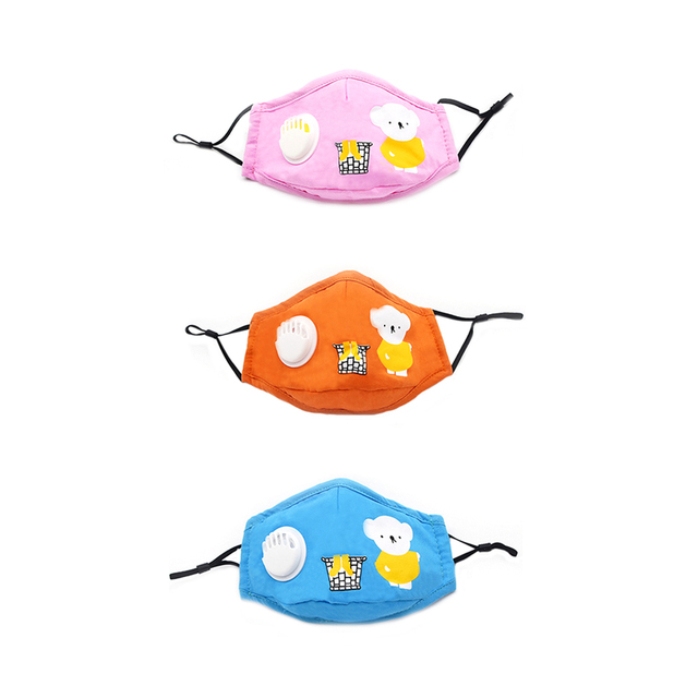 Kids Children Cotton Face Mouth Mask Dustproof PM2.5 Protective Respirator Reusable Fog Anti Flu Valve Masks with Filters 2